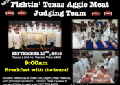 Breakfast with the Fightin' Texas Aggie Meat Judging Team on Saturday, September 10, 2016.